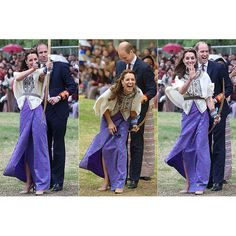 Following the official welcome, Kate had an attempt at Bhutan's national sport after watching a competitive archery game – and looked highly amused as her arrow appeared to miss the target.  The Duchess was assisted by her husband Prince William, who demonstrated how she should shoot the arrow as she took her aim. He joined in the applause when Kate aimed her bow and arrow at the target, and they both appeared amused as her bow veered off course. Photo: © Getty Images