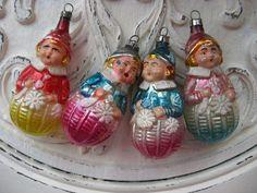 Antique Set Blown Glass Mercury Christmas Ornament Girl Elf Figural Snowflake