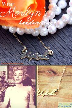 "Marilyn Monroe ""wish"" handwriting necklace taken froma letter written to a fan in August of 1957"