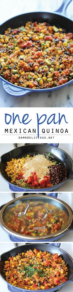 One Pan Mexican Quinoa - Wonderfully light, healthy and nutritious. And it's so easy to make - even the quinoa is cooked right in the pan! Wonderfully light, healthy and nutritious. And it's so easy to make – even the quinoa is cooked right in the pan! Mexican Food Recipes, Whole Food Recipes, Vegetarian Recipes, Healthy Recipes, Dinner Recipes, Vegan Vegetarian, Vegan Meals, Quinoa Meals, Indian Recipes
