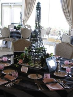 Eiffel Tower Centerpiece -fun theme for Sweetheart banquet Paris Theme Centerpieces, Eiffel Tower Centerpiece, Table Decorations, Centerpiece Ideas, Thema Paris, Paris Bridal Shower, Parisian Party, Springtime In Paris, Paris Birthday