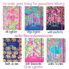 Pre-order your Lilly Pulitzer Agendas now at www.underthecarolinamoon.com