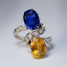 Vintage French Blue Orange Sapphire Diamond Ring - Antique Jewelry | Vintage Rings | Faberge Eggs
