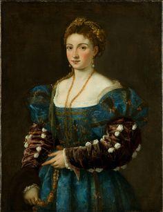 """Titian, Portrait of a Woman (""""La Bella""""), c. 1536. Florencia, Gallerie degli Uffizi en Palazzo Pitti."""