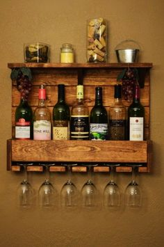 Rustic Reclaimed Wood 7 bottle Wine Rack Shelf with 6 glass holder - storage rack, home decor