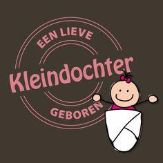 Een vrolijke felicitatiekaart voor de geboorte van een meisje. Kenmerken: kleindochter, lief, geboren, geboorte, baby, strik, stempel, roze, oma, opa. (Felicitatiekaart, geboorte)