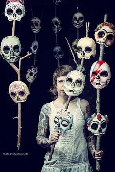 Dia de los muertos masks by artist Robyn Nomadical Roth  Credit: Photo: Steven Metz
