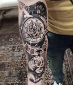Tattoo 3D Uhr mit Rose