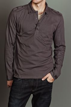 Jack Threads FIVE FOUR KIGSBY L/S HENLEY WITH COLLAR CHARCOAL $29.99
