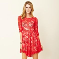 Free People Mesh Lace Dress Only worn twice. Sheer lace sleeves and shoulders. Fully lined nude slip. Side zipper. Delicate lace details at sleeve. Free People Dresses