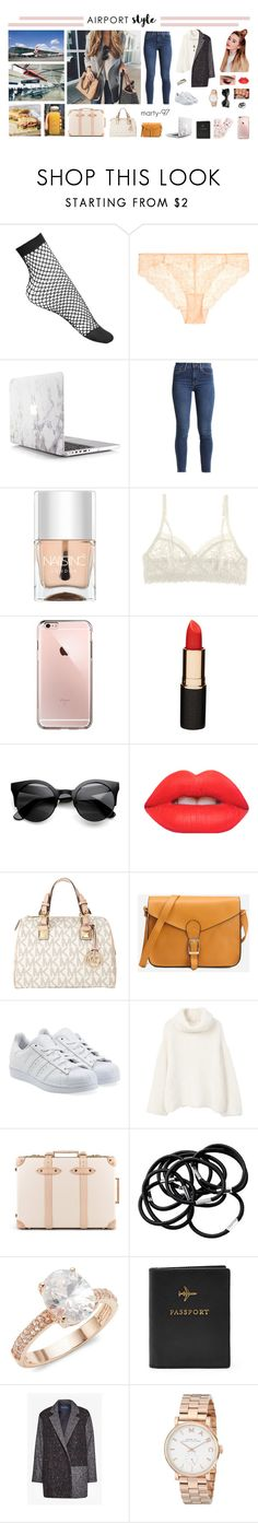 """Airport Style - Get The Look!"" by marty-97 ❤ liked on Polyvore featuring Lamoda, Elle Macpherson Body, Nails Inc., Hanky Panky, Mimco, Lime Crime, MICHAEL Michael Kors, adidas Originals, MANGO and Globe-Trotter"
