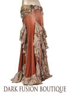 Skirt, YOUR SIZE, Gold Velvet with Ruffles, Nouveau, Fusion, Noir, Tribal Belly Dance, Cabaret, Cocktail, Long, Dark Fusion Boutique