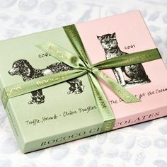 Packaging: Rococo Chocolate Cat & Dog Ganache Box. Nice vintage style graphics.