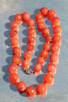 Vintage Chinese Hand Knotted Genuine Carnelian Bead Necklace Silver Clasp