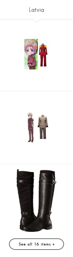 """""""Latvia"""" by whiterabbitmadness ❤ liked on Polyvore featuring costumes, cosplay costumes, cosplay halloween costumes, role play costumes, red costume, red halloween costumes, shoes, boots, black and botas"""