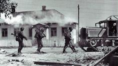 Waffen-SS soldiers captured a Ukrainian village in July,1941.