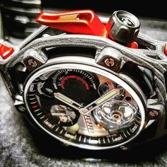 REPOST!!!  The Hublot Techframe Ferrari Tourbillon Chronograph honoring Ferrari's 70th anniversary. Ferrari designed it, Hublot built it. #hublot #tourbillon #complications #hautehorlogerie #chronograph #monopusher #ferrari #ferrariwatch #carwatch #instawatch #carbonwatch #baselworld2017  Photo Credit: Instagram ID @0024watchworld Ferrari Watch, Baselworld 2017, Tourbillon Watch, 70th Anniversary, Photo Credit, Chronograph, Watches, Instagram Posts, Accessories