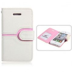 Cool Wallet Style Leather Case With Magnetic Flip for iPhone 4 4S (Ecru)