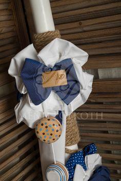 Λαμπάδα βάπτισης για αγόρι με σχοινί υφασμάτινα φιογκάκια και διακοσμητικά ξύλινα γιο-γιο