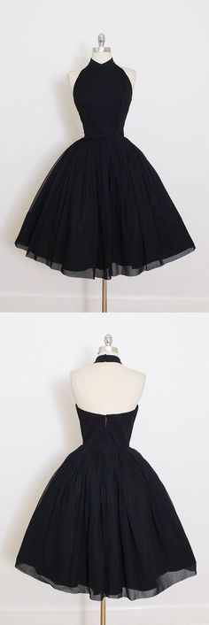 2017 Custom Made Black Chiffon Prom Dress,Halter Homecoming Dress,Short Mini Party Dress