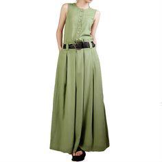 >> Click to Buy << Original 2017 Single Breasted Grass Green Linen Sleeveless Dress Loose Waist Female Vest Dress Ultra Long Casual A-line Dress #Affiliate