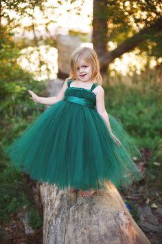 Hunter Green Tutu Dress with Sash. $50.00, via Etsy. flowergirls :)