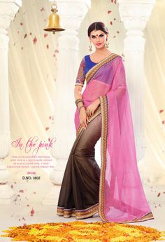 pink brown partywear saree with blue embroidery blouse