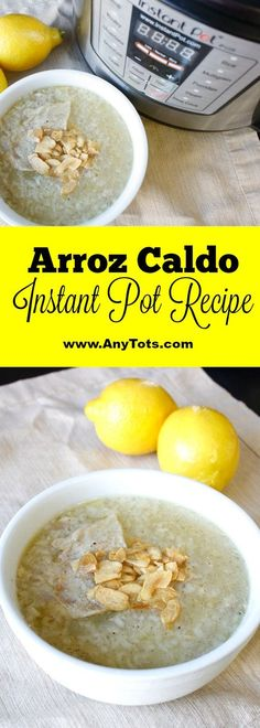 Arroz Caldo Instant Pot Recipe. 5 minutes to prep and 25 mins on soup setting. Instant Pot Recipe you'd wanna try on a rainy or cold day. This is a Filipino Recipe you'll love if you're looking for an instant pot recipe. www.anytots.com for more.