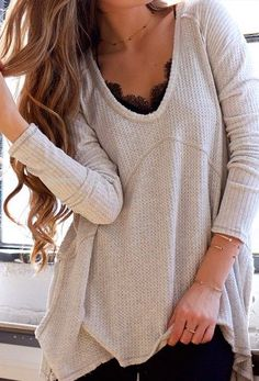loose sweater with lace