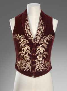 Waistcoat  (c. 1850)  Artist/s name (ENGLAND)   Medium silk, cotton, leather, metal Place/s of Execution (England) Accession Number 1478-D4 Credit Line National Gallery of Victoria, Melbourne