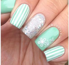Teal stripes and glitter feature