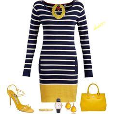 """Stripe Dress, Navy/Yellow"" by doris610 on Polyvore"