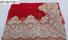 RE - Glamorous Red Nylon Mono Net Embroidered Pearl Work Saree Pearl Work Saree, Mirror Work Blouse Design, Kerala Bride, Wedding Sari, Trendy Sarees, Pearl And Lace, Net Saree, Work Sarees, Bollywood Saree