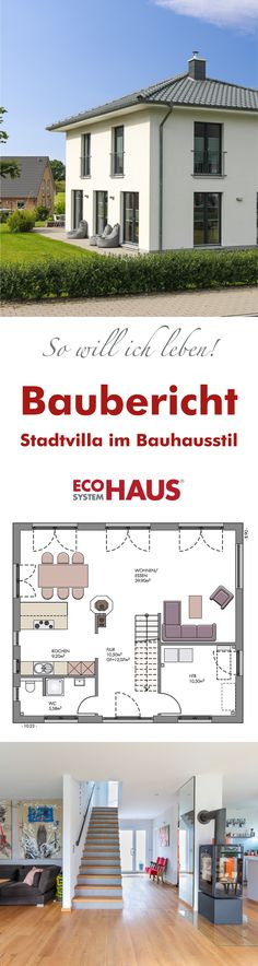 """Unsere Kundinnen und Kunden berichten von ihren Erfahrungen rund ums Thema """"Haus bauen"""": Die moderne und farbenfrohe #Stadtvilla integriert Elemente des Bauhausstils. #Haus #Hausbau #Grundriss #Einfamilienhaus"""