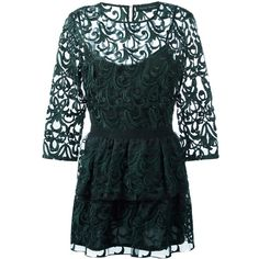 Christian Pellizzari lace dress ($762) ❤ liked on Polyvore featuring dresses, green, green cocktail dress, green lace dress, lacy dress, lace dress and green lace cocktail dress