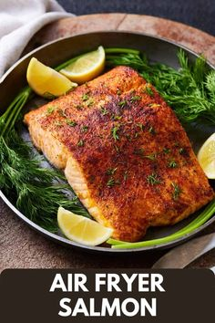 Ready in 10 minutes, you will love this Air Fryer Salmon recipe! It's the perfect dinner for busy weeknights as it is a hands-off way of easily and quickly making salmon that yields the perfect flakey but moist fillets. Best Seafood Recipes, Salmon Recipes, Healthy Dinner Recipes, Healthy Meals, Yummy Recipes, Quick Weeknight Meals, Easy Meals, Healthy Comfort Food, Healthy Eating