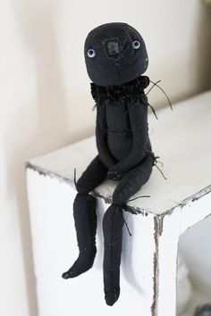 Blackbird a cute fabric jointed doll bird by Willow Designs