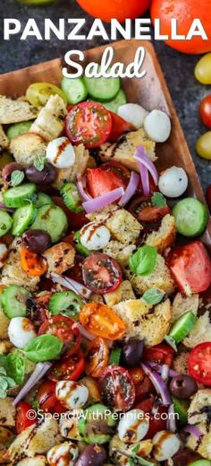Easy Panzanella Salad – Spend With Pennies This tomato panzanella is a delicious combination of tomatoes, cucumbers and mozzarella tossed with ciabatta bread pieces and a tangy balsamic vinaigrette! I can't get enough of this fresh summer salad. Fun Easy Recipes, Summer Recipes, Healthy Recipes, Lunch Recipes, Summer Dishes, Summer Salads, Pain Ciabatta, Bread Salad, Healty Dinner