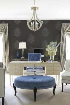 Traditional Home Office with Damask wallpaper, interior wallpaper, Henredon Barbara Barry Lady's Desk, Carpet, Crown molding