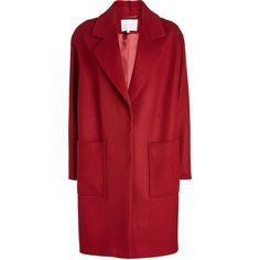 Lala Berlin Wool Coat (11.460 CZK) ❤ liked on Polyvore featuring outerwear, coats, red, red coat, wool coat, wool cocoon coat, red wool coat and cocoon coats