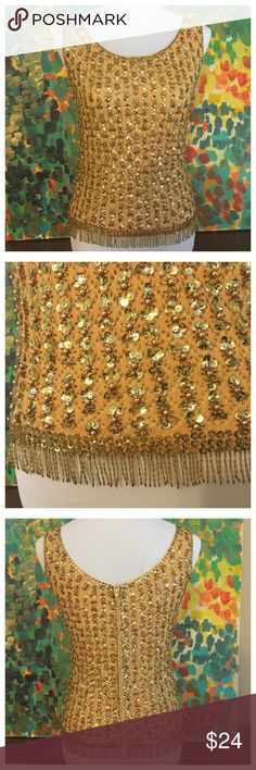Vintage Sequin & Fringe Bead Sweater Tank Vintage Sequin & Fringe Bead Sweater Tank - size 34 euro / 2 US - this gorgeous sleeveless sweater is heavily embellished with sequins and beads - hem of tank is decorated with gorgeous bugle and seed beads tassels (2 tassels missing in back, undetectable)  - the sweater tank is fully lined and has a full length zipper in back (opens completely) - the fabric tag is missing, so I am not sure what type of yarn this garment is created from - the shell…