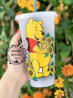 Winnie the Pooh inspired Disney Starbucks Reusable cold cup tumbler handmade sunflowers Starbucks Coffee Cups, Starbucks Tumbler, Starbucks Drinks, Personalized Starbucks Cup, Custom Starbucks Cup, Personalized Cups, Winnie The Pooh, Disney Starbucks, Disney Cups