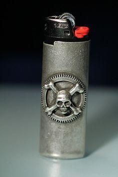 Silver skull and cross bones Lighter Cover by billyblue22