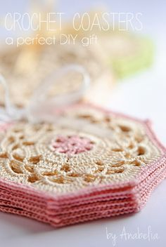 Crochet coasters sets by Anabelia.  beautiful, free pattern chart (this should be useful to learn how to use charts)