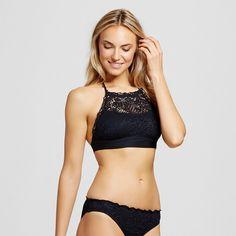 Women's Crochet High Neck Bikini Top - Black - XL - Mossimo