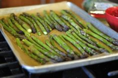No-oil Roasted Asparagus - juice of one orange mixed with 1 T. balsamic vinegar, and sprinkled with pepper and himalayan pink salt.