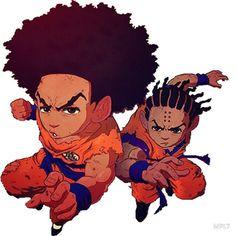The Boondocks-Dragon Ball Z-Huey Freeman-Riley Freeman Dope Cartoons, Dope Cartoon Art, Cartoon Kunst, Boondocks Characters, Boondocks Drawings, The Boondocks Cartoon, Dragon Ball, Dbz, Painting Art