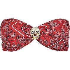 Red bandana print skull bandeau bikini top - bikinis - swimwear / beachwear - women and cheap clothing website