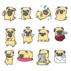 Pug stickers in process on Behance