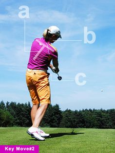 """A: The Halo: Notice how Annika's spine and shoulders form a """"T."""" This is a huge key for hitting straight shots. Build the """"T"""" by keeping your chin in line with your sternum as you turn through impact. Feel like you're wearing a neck brace or """"halo."""" Your rhythm and consistency will improve in an instant. B: The Trademark: In traditional swings, the head stops moving during impact, which can force the hands to take over and move the club offline or manipulate the clubface. Annika's early head…"""